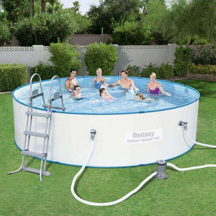 Piscina bestway hydrium circular chapa splasher 360x90 cm for Piscina desmontable acero
