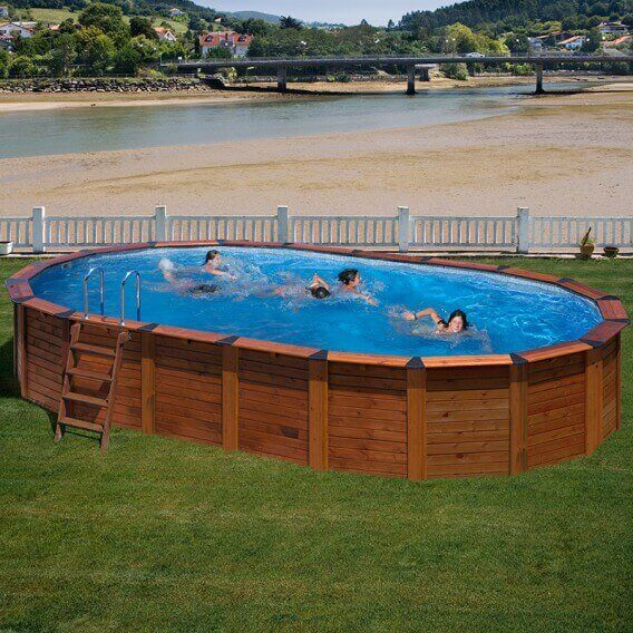 Piscina gre de madera ovalada nature pool serie hawaii for Piscinas desmontables