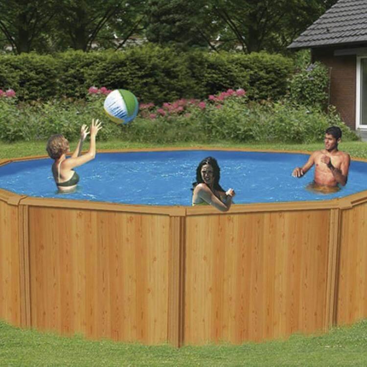 Piscina k2o circular chapa reforzada color madera 460x120 for Piscinas desmontables grandes