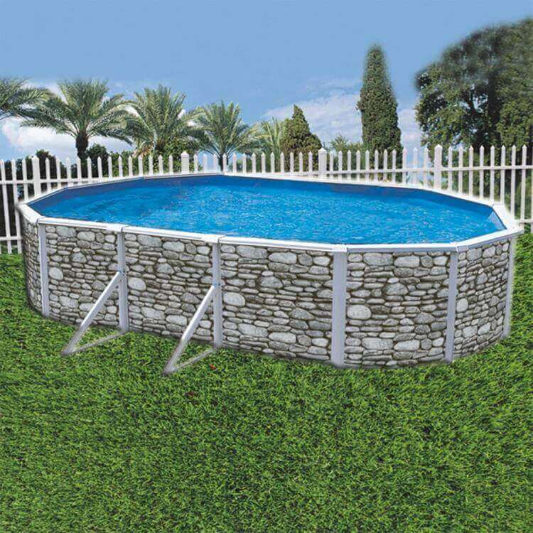Piscina k2o ovalada chapa reforzada aspecto piedra for Precios piscinas desmontables